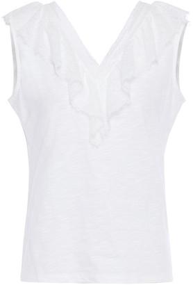 Claudie Pierlot Chantilly Lace-trimmed Slub Cotton-jersey Top