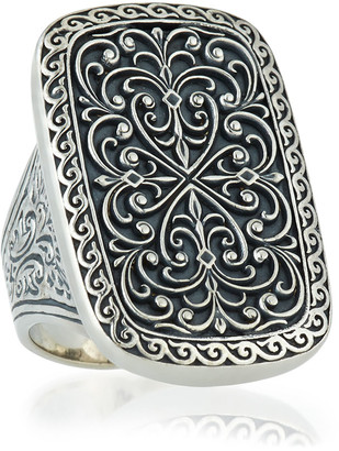 Konstantino Large Silver Rectangle Filigree Ring