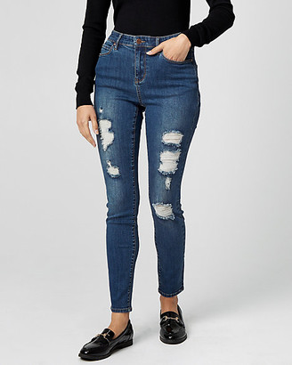 Le Château Distressed Denim Regular Rise Skinny Pant