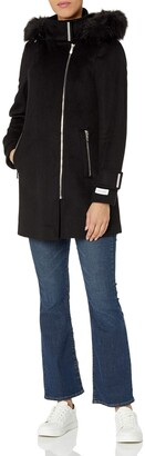 Calvin Klein Womens Zip Front Wool with Faux Fur Hood