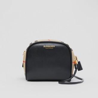Burberry Micro Leather and Vintage Check Cube Bag