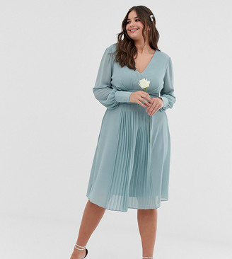TFNC Plus bridesmaid exclusive midi dress with pleated skirt in sage