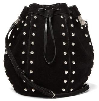 Saint Laurent Talitha Studded Suede Bucket Bag - Black