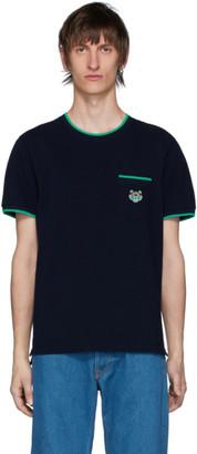 Kenzo Navy Pique Tiger Crest Pocket T-Shirt