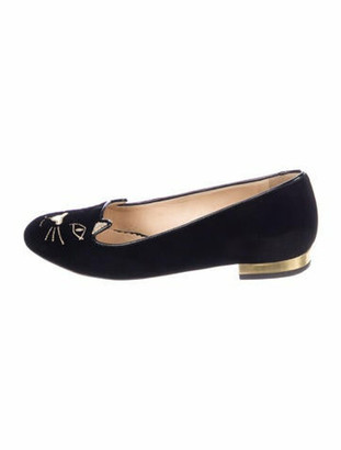 Charlotte Olympia Graphic Print Embroidered Accent Ballet Flats Black