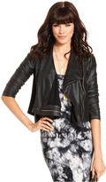Rachel Roy Jacket, The Shauna Three-Quarter Distressed Faux-Leather Draped