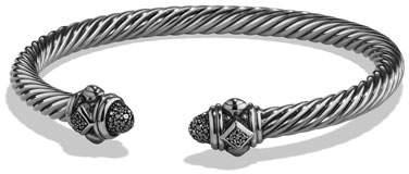 David Yurman 5mm Renaissance Sterling Silver Bracelet w/Black Diamonds