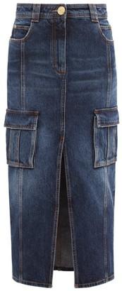 Balmain Slit-front Denim Midi Skirt - Blue