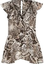 River Island Womens Grey snake print frill top