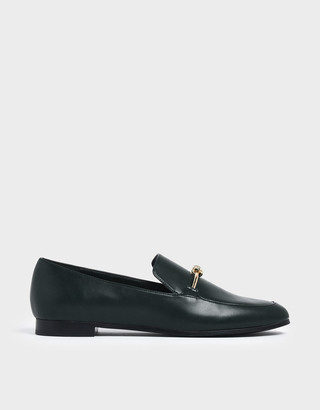 Charles & Keith Metallic Knot Accent Loafers