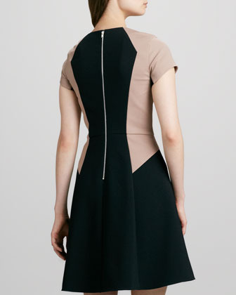 Rebecca Taylor Colorblock Half-Sleeve Flare Dress