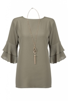 Quiz Khaki 3/4 Frill Sleeve Necklace Top