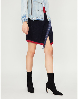Pinko Aconito fringe-trimmed knitted mini skirt