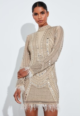 Missguided Gold Embellished Mirror Beaded Mini Dress