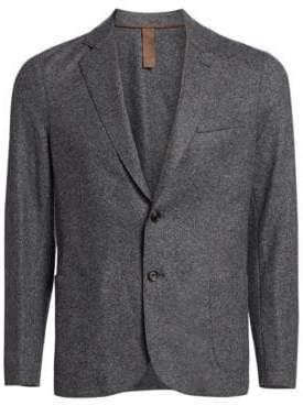 Eleventy Men's Slim-Fit Laser-Cut Notch Lapel Flannel Wool Two-Button Jacket - Blue - Size 50 (40)