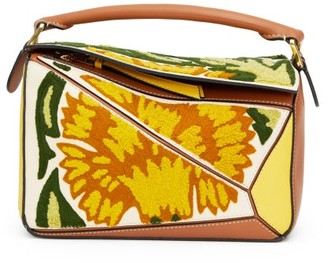 Loewe Puzzle Small Floral-embroidered Leather Bag - Womens - Yellow Multi