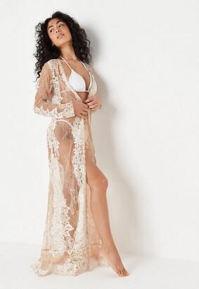 Missguided Premium Nude Eyelash Lace Maxi Beach Kimono