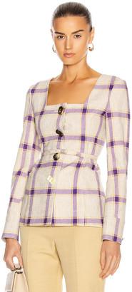 REJINA PYO Martina Jacket in Check Purple & Yellow | FWRD