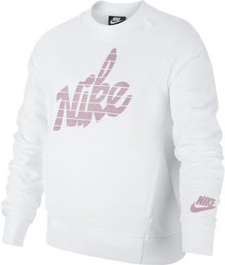 Nike Girls 7-16 Graphic Crewneck Sweatshirt