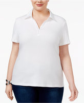 Karen Scott Plus Size Cotton Studded Polo Top, Only at Macy's