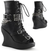 "Demonia BRAVO-89 Women's Hot Fashion 5"" Wedge Platform, Lace Up Calf High Boot, Color:, Size:7"