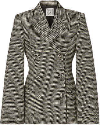 Totême Matera Plaid Cotton Double-Breasted Blazer