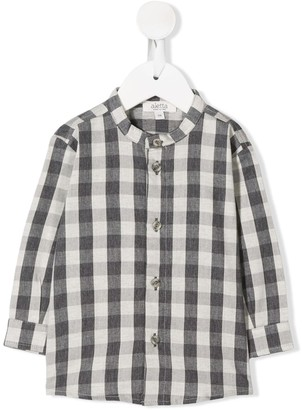Aletta Band Collar Checked Shirt
