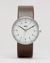 Braun Classic Leather Watch In Brown & White Dial