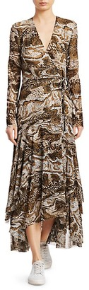 Ganni Printed Mesh Wrap Dress