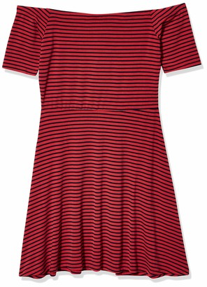 Derek Heart Women's Off Shoulder Stripe Novely Back Skater Dress