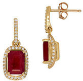 Lord & Taylor Ruby, Diamond & 14K Gold Earrings