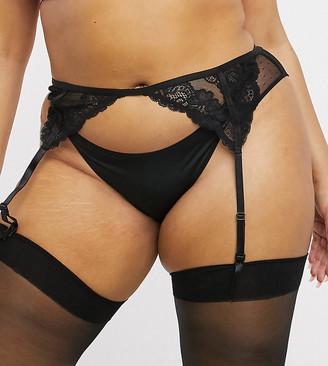 ASOS DESIGN Curve Arabella lace suspender in black