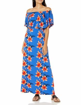 28 Palms Amazon Brand Women's Tropical Hawaiian Print Off Shoulder Maxi Dress