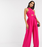 Asos Edition EDITION Tall cross front jumpsuit with tie