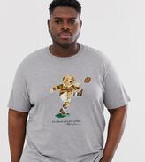 Polo Ralph Lauren Big & Tall rugby bear print t-shirt in grey marl
