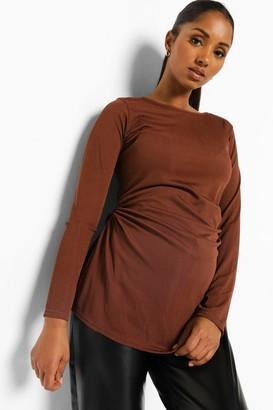 boohoo Maternity Ruched Side Split Tunic