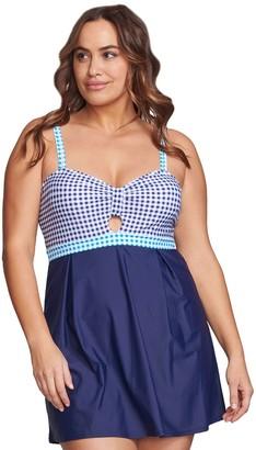 Plus Size Mazu Swim Gingham Underwire Hip Minimizer Swim Dress