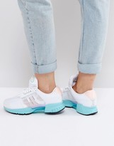 adidas White And Aqua Climacool Sneakers