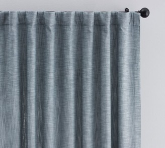 Pottery Barn Seaton Textured Cotton Rod Pocket Blackout Curtain - Chambray Blue