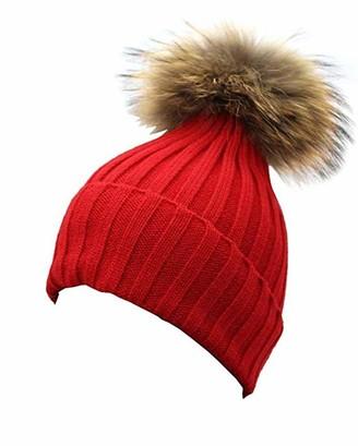 Feifanshop Womens Girls Winter Crochet Knit Bobble Hat Beanie with Faux Raccoon Fur Pom Pom Wool Knittd Cuff Hat (Red)
