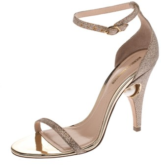 Nicholas Kirkwood Gold Glitter Fabric Penelope Pearl Ankle Strap Sandals Size 36