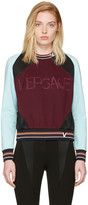 Versace Burgundy and Blue Colorblocked Logo Sweatshirt