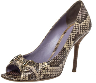 Gucci Beige/Brown Python Leather Horsebit Peep Toe Pumps Size 38