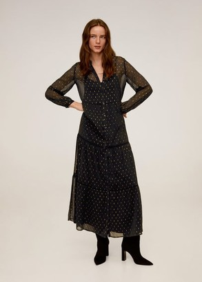 MANGO Printed long dress black - 4 - Women
