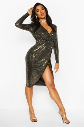 boohoo Sequin Wrap Plunge Midi Dress