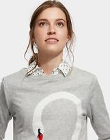 Joules Womens Miranda Intarsia Jumper with Contrast Cuff in Soft Grey Swan Print