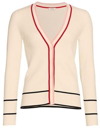 Akris Punto Multi Stripe Knit Wool Cardigan