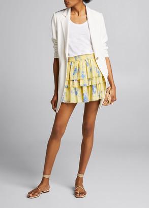 LoveShackFancy Brynlee Tiered Floral Print Mini Skirt