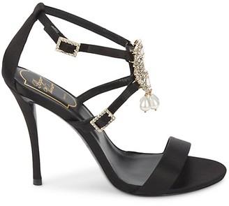 Roger Vivier Satin Jeweled Sandals