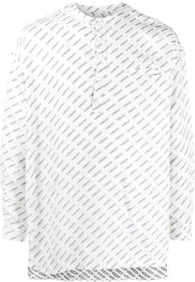 Ambush Logo-Print Collarless Shirt